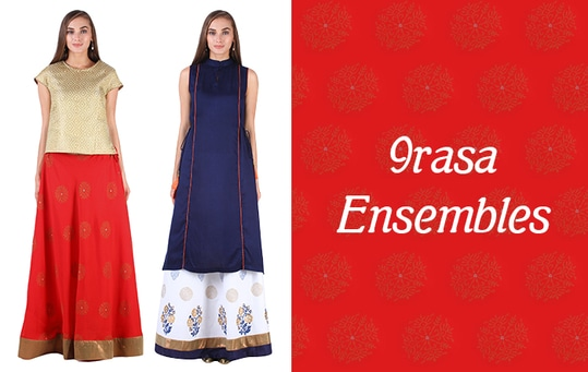 9rasa Ensembles @ 20%+20% OFF  https://9rasa.com/collections/outfits?page=2  #9rasa #studiorasa #ethnicwear #ethniclook #fusionfashion #online #ensembles #outfit