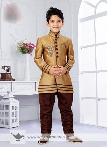 Marvelous Mustard & Brown Churidar Kid's #Sherwani Shop from https://goo.gl/mGzYi8