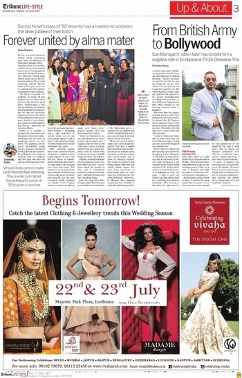 Begins Tomorrow!  Celebrating Vivaha Featured in #TribuneLifestyle, Ludhiana for its Grand #WEDDINGEXHIBITION in Ludhiana.  Catch the Latest trends in #CLOTHING and #JEWELLERY from the finest designers of #FASHION industry at #MajesticPark Plaza, #Ludhiana on 22nd & 23rd July.  For Queries Visit at : http://www.vivahaexb.com/ or Contact: 09811923456  #News #Clothes #Jewelry #DiamondJewellery #GoldJewellery #Bridal #Exhibition #BridalDresses #WeddingExpo #DesignerJewellery #DesingerDresses #WeddingDresses