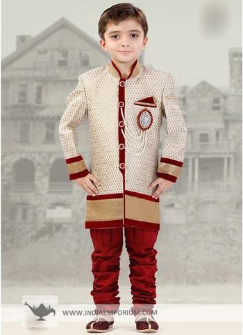 Stunning Maroon & Off White Silk Jacquard Kid's #Sherwani Shop or order now https://goo.gl/2Y2rbS
