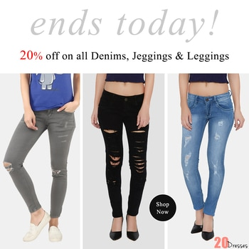 Last few hours to Avail Flat 20% Off on all Denim, Leggings & Jeggings! #20dresses #20d #so-ro-po-so  oftheday #picoftheday #online #onlineshopping #ecommerce #offer #offeroftheday