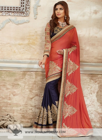 Orange & Navy Blue Embroidered #Saree Order now https://goo.gl/zURQuJ