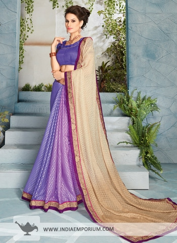Purple & Beige #Saree with Lace Border. Shop from https://goo.gl/mQ234K
