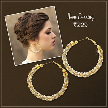 🎉 New Arrivals 🎉 Round Shape Gold Plated Austrian Stone Hoop Earrings @ Rs.229/- Shop Now : https://goo.gl/nemiby COD Available | Prepaid Customer will get Rs.100 Gift Voucher for next purchase. #buyonline #Round #Austrian #Stone #New #Jewellery #JewelMaze