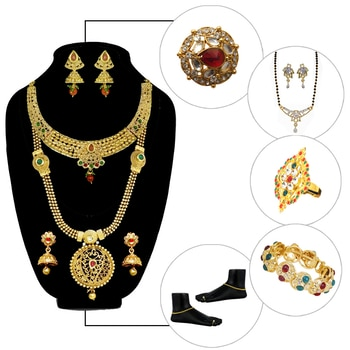 #Ethnic Bridal Jewellery Combo @ Rs.599/- Shop Now : https://goo.gl/KV3A4L COD Available | Prepaid Customer Will Get Rs.100 Gift Voucher For Next Purchase. #Bridal #Combo #Jewellery #necklace #festive #JewelMaze