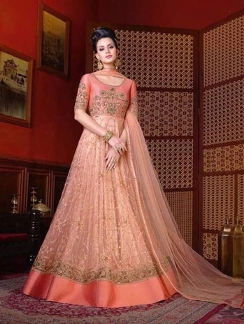PEACH FLORAL EMBROIDERED WEDDING WEAR GOWN STYLE SUIT IN NET https://www.gravity-fashion.com/peach-floral-embroidered-wedding-wear-gown-style-suit-in-net-g17227.html