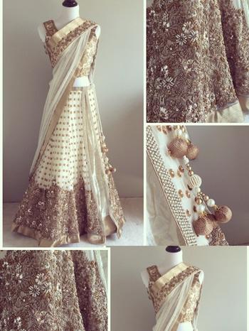 Striking Panel Style #LehengaCholi with #Dupatta Beads Work Made-to-order now https://goo.gl/unH49G