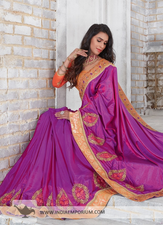 Lavish Purple Art Silk Based #Saree with Embroidery Work Just order now https://goo.gl/Dk66qk