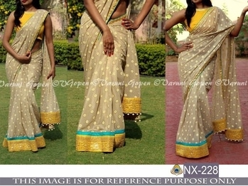 DS NO. : NX-228 PALLU /SCUTT : GEORGET BLOUSE : BENGLORI SILK  WORK : FANCY THREAD WORK WITH SEQUNCE TYPE : SAREES RATE : 1400+$ check availability before placing order Shipping available all over India and Worldwide. only genuine and serious buyers message or Call/Whats app on - 9731655588 Online transfer/Paypal/Paytm Accepted