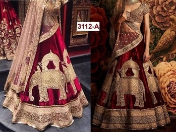 As per demand in market we reagain back d design of single hot colour  ⚜ * CODE 3112 A Hot colour *   ⚜* RATE ₹  * 2695  ⚜COLORS Maroon  ⚜LEHENGA fabric viscose velvet ⚜INNER silk  ⚜BLOUSE art silk with sequence embroidery work ⚜DUPATTA soft net with diamond  ⚜lehenga embroidery work of * sequence & zari *  *Limited time stock available *