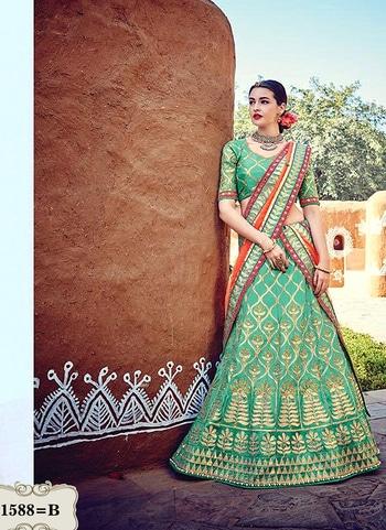 Buy Malabary Silk Rama Green Heavy Bollywood Lehenga Choli  For more https://goo.gl/5LL9sL For order +91-8238424320  #indianwedding #bride#asianbride #india #jewellery #bridaljewellery #trendy #coloursoflife #happiness#bridalinspiration #embroidery #lehngainspiration #makeup