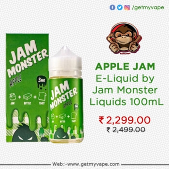 Apple Jam E-Liquid by Jam Monster Liquids is a freshly buttered piece of toast smothered with mouth-watering apple jam and a hint of cinnamon. Order it now: http://bit.ly/2v3szEd #QuitSmoking #StartVaping #getmyvape