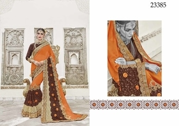 #looksfab #orange & #Brown #Colored #crepe saree.   Saree Fabric : #crepe  Blouse Fabric : Gota  #like , #comment, #share #looksfab   Comment or Whatapps +918097775536  #Grab #rakshabandhan  #offer on #clothing.