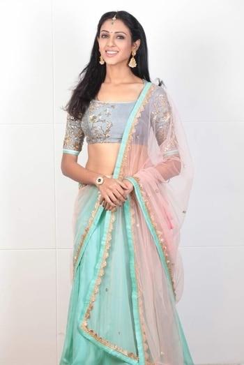 Actress #priyashri looks majestic as she poses in our pastel handcrafted lehenga!!  #archithanarayanamofficial #bridalcouture #priyashri #actress #tollywood #majectic #movies #rare #combination #pretty #lehengas #springsummer #2017