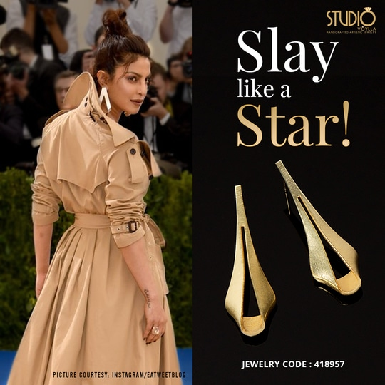 Don't you think Priyanka Chopra totally slayed on the red carpet at fashion world's Academy Awards- The Met Gala? We still can't get over her look! Shop for similar earrings here: https://goo.gl/8nHLBH