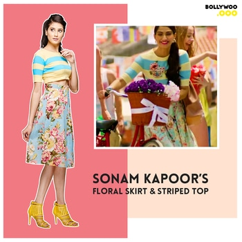 Get your hands on Sonam Kapoor's Striped Top & Floral Skirt from the song Dheere Dheere.   Get this cool look from BollyWoo here - https://goo.gl/4SzwGa  #bollywoo #SonamKapoor #skirt #top #trendy #fashionable #GrabThisNow #BollywoodDecoded #BollyOverMolly #StopTheScreen #ShopTheScreen
