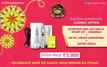 Grab our Raksha Bandhan Mega Offer! Celebrate Vape Ke Sath, Bhai-Bahan Ka Pyaar. #EkRishtaSwagWala #QuitSmoking #StartVaping #GetMyVape To place your order click on the link http://bit.ly/2wrkzKu. :)
