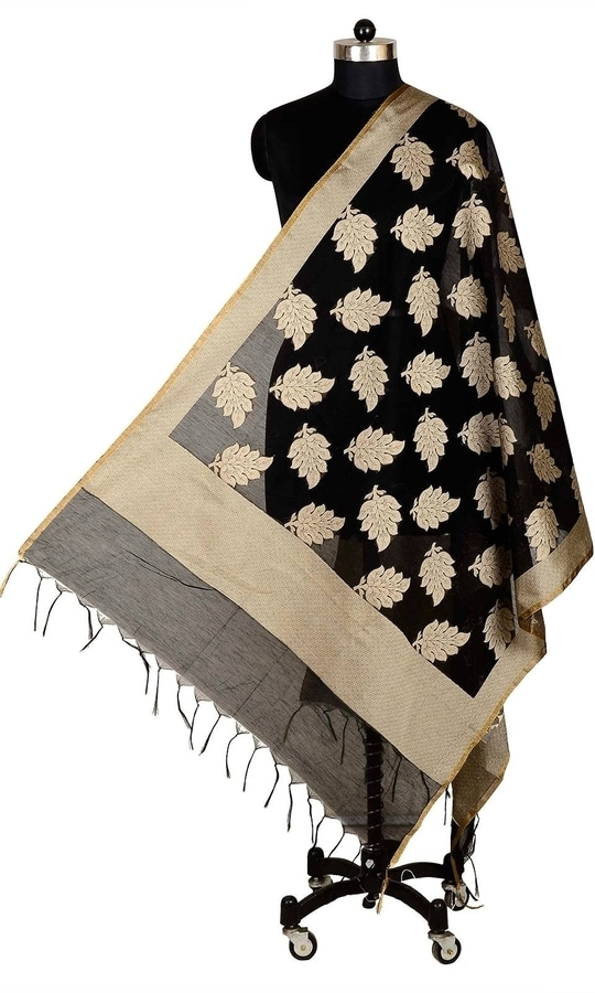 Black Color Banarasi Silk Dupatta  • Pure Banarasi Silk Dupatta • Fabric : Banarasi Silk • Dupatta Size : 100 inches X 36 inches  SKU: DUP0075-Black Rs. 799.00  #IndependenceDay