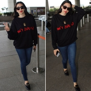 Effortlessly chic #karishmakapoor travels in a #shahinmannan 'Don't Bug Me' sweatshirt paired with Gucci mules. . Styled by #eshaaamiin  . . ❤️❤️  #bollywood #celebrity #airportlook #diprloves #dipublicrelations #webuildyourstory