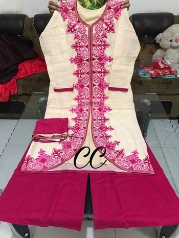 BEAUTIFULL WOW DESIGNER COTTON STICHED SHIRT WITH EMBROIDERY ND INNER ?????????? SHIRT SIZE 44 LENGTH 45 COTTON STICHED PLAZZO ???????????????????? @2650+$ including gst