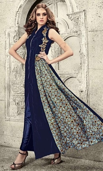 Blue Party wear Velvet Suit  • Party wear A-line Velvet Suit • Fabric : Velvet • Bottom Fabric : Velvet • Dupatta Fabric : Chiffon • Size : Semi-Stitched (customizable Upto size-44)  SKU: SUEJDSMS3807 Rs. 3,999.00  #IndependenceDay