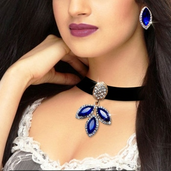 Trendy Royal Blue Stone Choker Necklace @ Rs.279/-😍 Shop Now : https://goo.gl/p7F9N6 #Trendy #Jewellery #Choker #Blue #Lace #JewelMaze