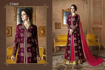 Ethnic Basket Magenta Colored slub Georgette Lehenga Suit.  For Fabric & Price Details / Order Whats App us @ +91 8460013747
