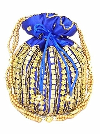 Handmade Bead Potli Bag with Satin Lining Handmade by lady artisans of central India. Height: 6.5 in; Width: 6.5 in. Strap length: 21 in. #potli #potlis #purse