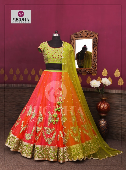 Be the star of the show with this beautiful Lehenga with Stunning colors and Hand Made embroidery . we can customize the color and size as per your requirement. Product code - LHG 300 To Order with us :  Whatsapp +91 8142029190/ 9010906544  For Call: 8899840840 (IVR)