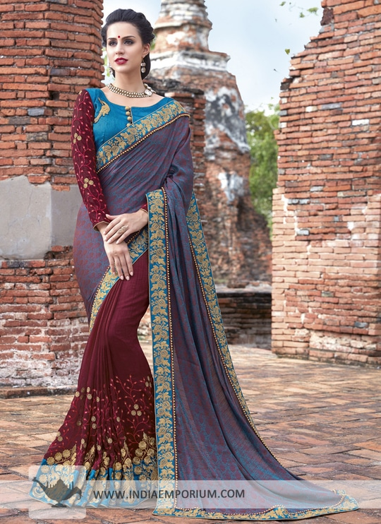 Mesmerizing Crepe Chiffon Based Blue & Maroon Beads Work #Saree  To order or enquire, visit Indiaemporium.com Call or WhatsApp @ +91-885-135-6382 (US) +1-302-261-9333 (UK) +44-20-3290-3332 View this product: https://goo.gl/RGZSEV #wedding #partywear #like4follow #onlineshopping  #indiaemporium