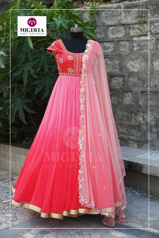 Pink Pink Pink.. Here is the Ladies Favorite Color Pink Anarkali with Beautiful Hand made design . we can customize the color and size as per your requirement. Product Code: MA -112 To Order with us : WhatsApp: +91 8142029190 / 9010906544 For Call: 8899840840 (IVR)