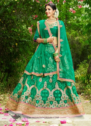 Charming Net & Satin Embroidered Teal Green Zari Embroidery #LehengaCholi View https://goo.gl/1A7zgH #ethnicwear #partywearlehengas #happymomentsinlife #onlineshopping #indiaemporium