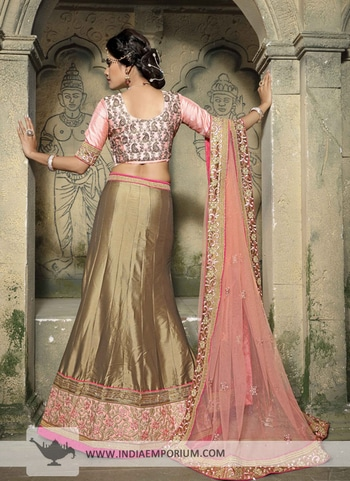 Sizzling Paper Silk Beige Brown & Pink Embroidered #LehengaCholi View https://goo.gl/WNoUDV #ethnicwear #partywearlehengas #happymomentsinlife #onlineshopping #indiaemporium