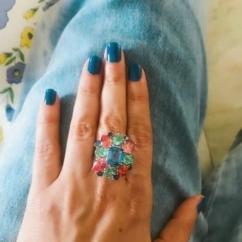 #blue #bluelorealnailpaint #multicolor #cocktailring I'm wearing