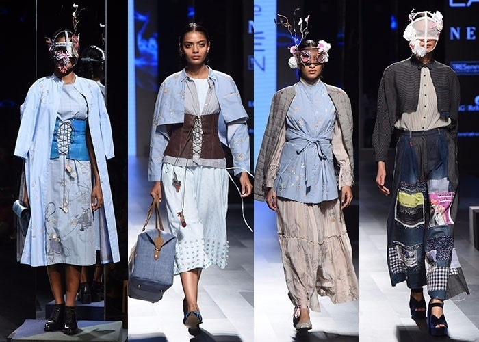 Doodlage's 'Dream's and Dystopia' focused heavily on patchwork in a gorgeous array of colors and prints, the collection was edgy, especially with distinctive head-gears. #lakmefashionweek2017 #lakmefashionweek #doodlage #autumnwinter