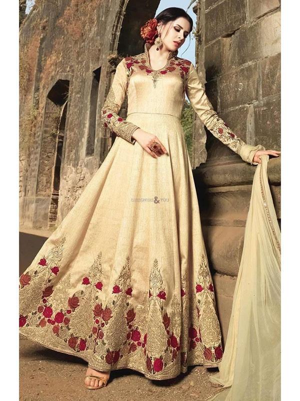 Gorgeous Banarasi Silk Floral Embroidered Cream & Golden #AnarkaliSuit Shop now https://goo.gl/N5ro7V #partywear #onlineshopping #indiaemporium