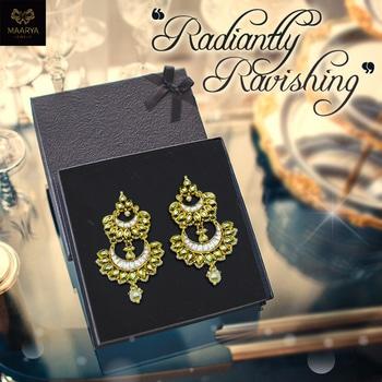 Get the moonlike radiance with these layered kundankari chandbali earrings with a pearl drop. Contact Maarya Jewels at 09810833221. #maaryajewels #jewelry #fashion #stylishliving #designerearrings