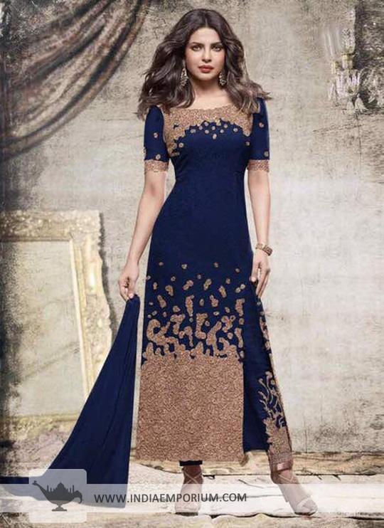 Priyanka Chopra Georgette Navy Blue Zari Embroidery Side Slit Pant Suit Shop now https://goo.gl/TMDNzn #onlineshopping #like4like #indiaemporium