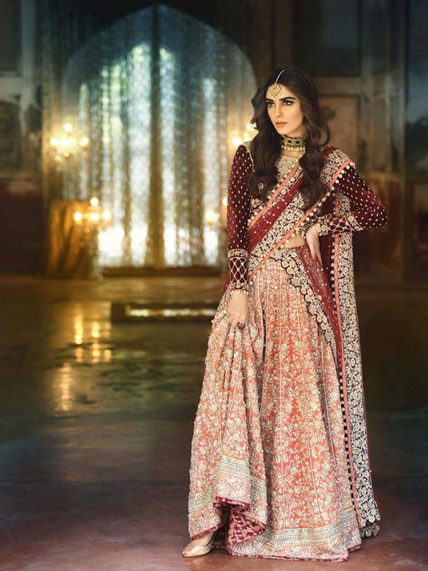 Exquisite #Silk & Velvet Zarkan Embroidered Maroon and Peach #LehengaCholi #happyfaces #wedding-lehnga #happycustomer View product https://goo.gl/J1Fw8t #onlineshopping #indiaemporium