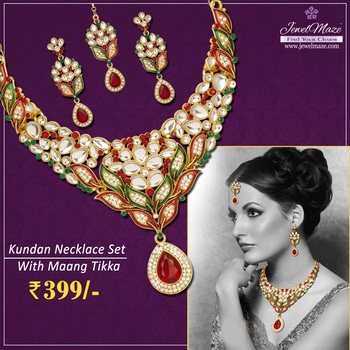 Kriaa Zinc Alloy Gold Plated Maroon And Green Austrian Stone And Kundan Necklace Set With Maang Tikka @ Rs.399/- Shop Now : https://goo.gl/U5Xno9 #Buyonline #Necklace #Kundan #Stone #Maangtikka #Jewellery #JewelMaze