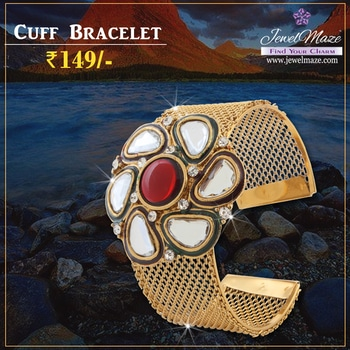 #Urthn Kundan And Austrian Stone Gold Plated Cuff Kada For Festive Season @ Rs.149/- Shop Now : https://goo.gl/ReEJsz #Buyonline #Kada #Cuff #Kundan #Jewellery #JewelMaze