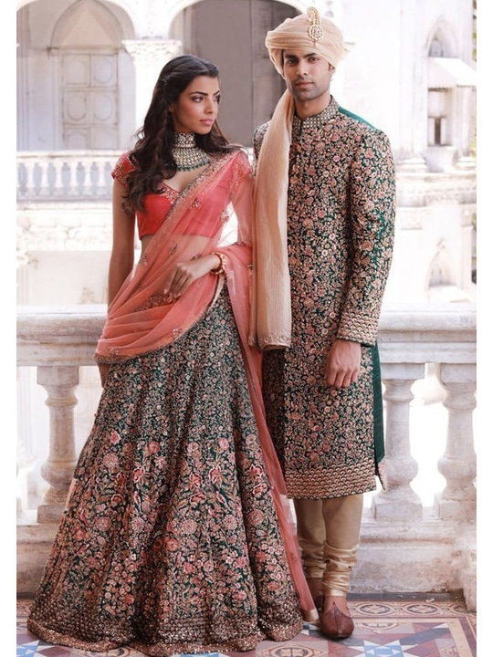 Sensational #Bridal Panel Style Raw Silk & Net Pine Green #LehengaCholi View https://goo.gl/NiA1VD #weddingcollection