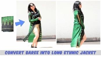 DIY: Convert Old Saree Into Ethnic Jacket/Maxi jacket!! #thrifted #thrifted transformation/conversion/refashion #diy #diy fashion #fashionblogger #indianyoutuber #womens-fashion #summer-style #women-style #maxishrug #followformore #moretocome #staytuned #stayconnected #thesjcreations #thediygirlss #mystyle #mysnap #shalinijaimini #youtuber