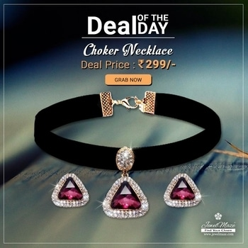 😍 Deal OF The Day 😍 #Jeweljunk Red Austrian Stone Gold Plated Choker Necklace Set @ Rs.299/- Shop Now : https://goo.gl/9CyLLy #Dealoftheday #Jewellery #Choker #Necklace #Black #JewelMaze
