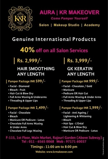 #Pamper Yourself at KR Makeover!! 40% Discounts Available !! Avail #Pamper Packages starting from Rs. 599/- onwards including #facial #Haircut #Bleach #Threading #BlowDry #Manicure #pedicure #Waxing #HairSmoothening #GKKeratin and much more. Call for bookings @ 9717160037 or visit us @ F-115, 1st floor, main market, Rajouri Garden. Above subway, New Delhi Website : www.krmakeover.com