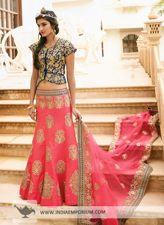 Subtle Pink & Navy Blue Zari Embroidered #Lehenga Choli View https://goo.gl/T5cLR3 #partywear #like4like #onlineshopping #indiaemporium
