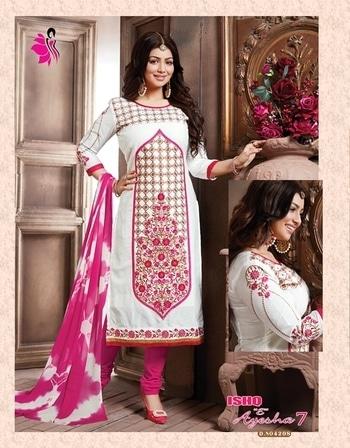 The gorgeous #ayeshatakia in #Khwaish latest launched collection ISHQ E AYESHA VOL 7!  #khushika #ayeshatakia #ayeshatakiasuits #salwarkameez #designer #latestfashion #white #pink