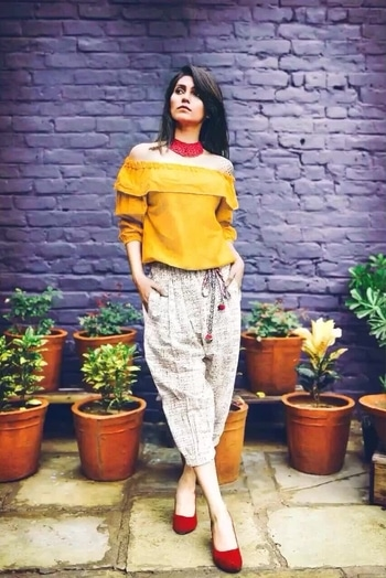 Pure Khadi Westernware. Top and calf length pant. M and XL sizes available Pant: M(26-32), XL(34-40) Top: M (36), XL(40) #westernwear #khadi #fashion #tapasyacollections