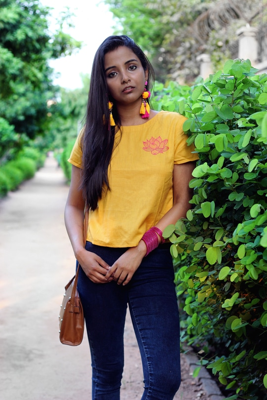Brighter than Sunshine! . Follow me on Instagram - https://www.instagram.com/theduskess/   .#hippie #happyhippie #boho #bohemian #boholove #bohochic #bohofashion #gypsy #gypsysoul #banjaran #style #whatiwore #aboutalook #ootd #stylediaries #fashion #yellow #potd #lotd #bestoftheday #lookoftheday #delhiblogger #indianblogger #lookbook #wiw #wiwt  #roposolove #beautiful #streetstyle #streetstyledelhi #roposogal #delhi #jewellery #white #summer-style #womensfashion #model #roposo #ropo-love #loveyourself #ethnic #fusionwear #indian #swag #ootd #fashionblogger #soroposo  #picoftheday #roposogal #trendy #like #followme model #love #fashion #styles #pink #tassel #hair #straighthair #longhair