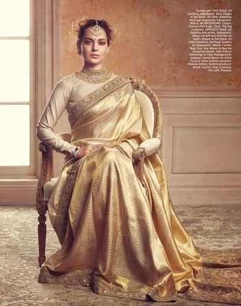Kangana Ranaut styled by Sabyasachi for Harper's Bazaar Bride. She wears a Kanjeevaram saree from the designer's 'Vasanthalaxmi' Collection and pairs it with a prim textured silk blouse. The look is accessorised by Sabyasachi's Heritage Jewelry Collection featuring the signature Arya choker in polki and 22 carat gold. Also featured is the House's signature jadau studs and Amritsari tikka.  Cover Story of Harper's Bazaar Bride September 2017 #Sabyasachi #TheWorldofSabyasachi #KanganaRanaut #HarpersBazaarBride #SabyasachiHeritageJewelry #JadauJewellery #GoldJewellery #DiamondJewellery #Repost